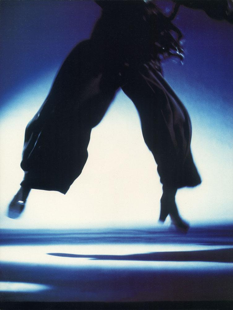 Silhouette in blue, John Galliano pants