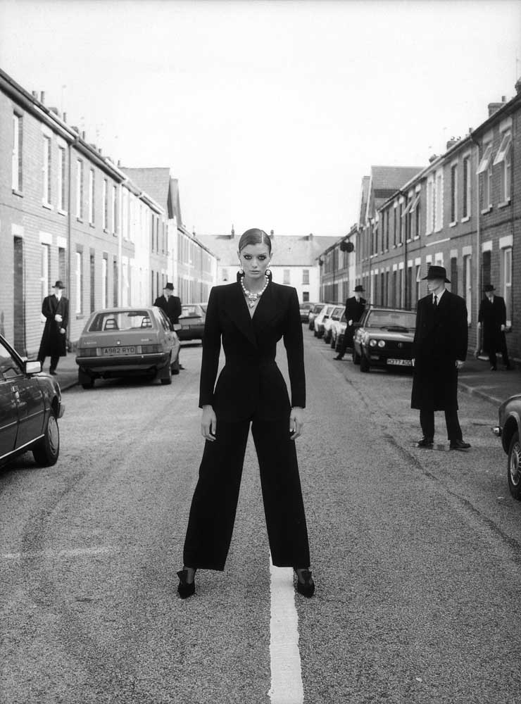 On location in Yves St Laurent trouser suit