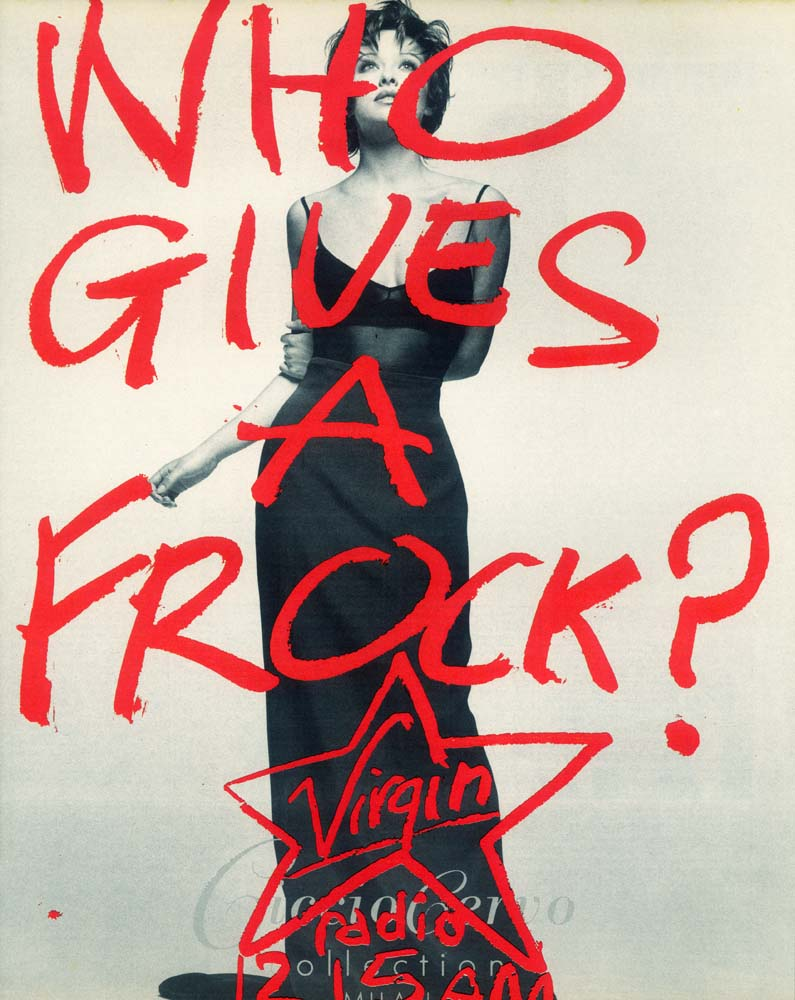 Who gives a frock, press ad for Virgin