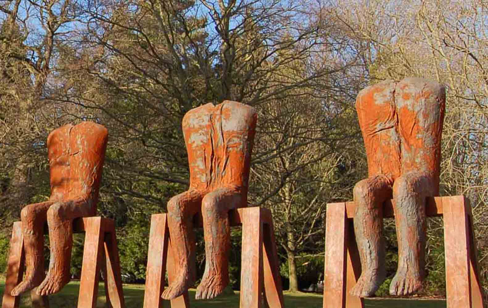 seated torsos with legs outdoor sculpture